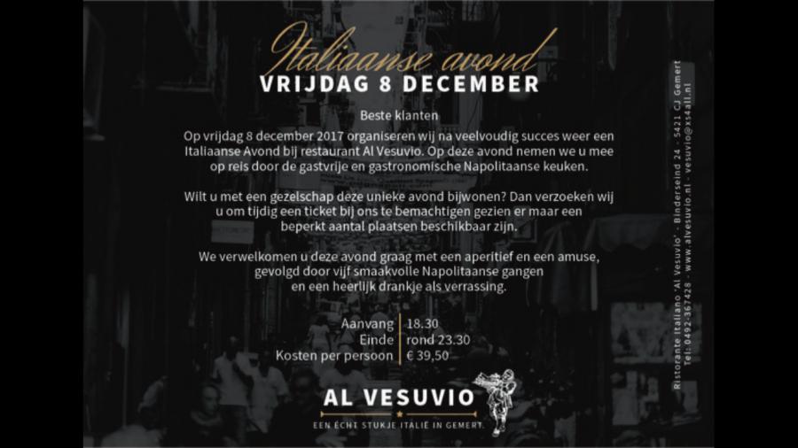 Italiaanse feestavond vrijdag 8 December 2017