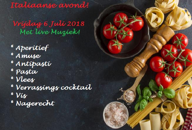 Italiaanse feestavond vrijdag 6 Juli 2018